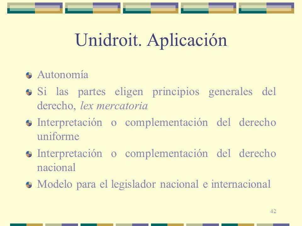 Unidroit. Aplicación Autonomía
