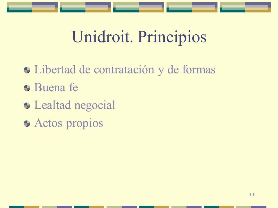 Unidroit. Principios Libertad de contratación y de formas Buena fe