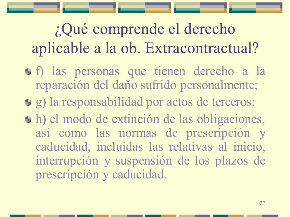 ¿Qué comprende el derecho aplicable a la ob. Extracontractual