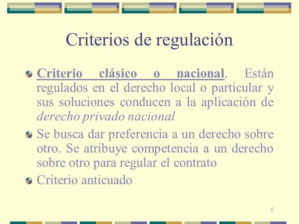 Criterios de regulación