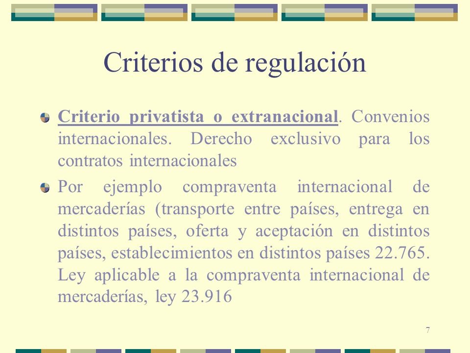Criterios de regulación