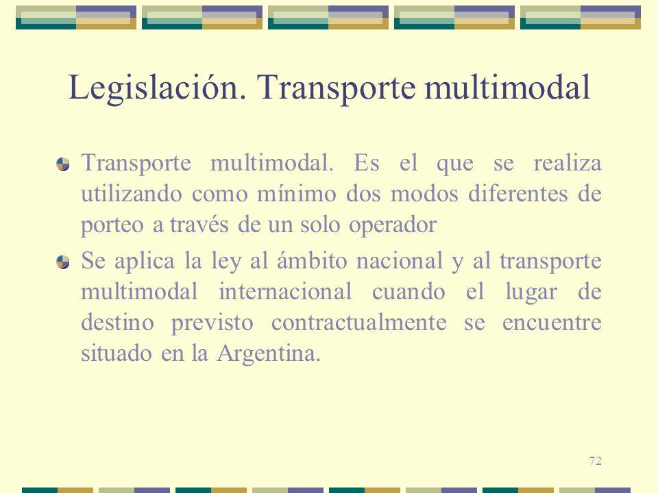Legislación. Transporte multimodal