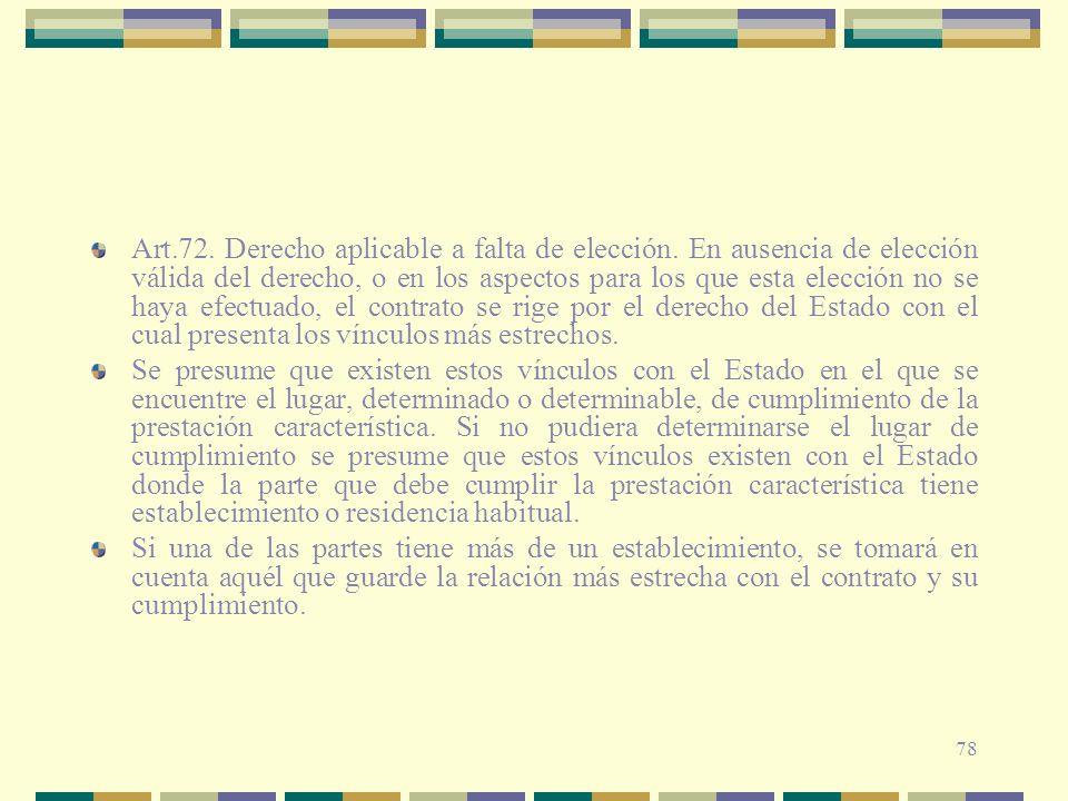 Art. 72. Derecho aplicable a falta de elección
