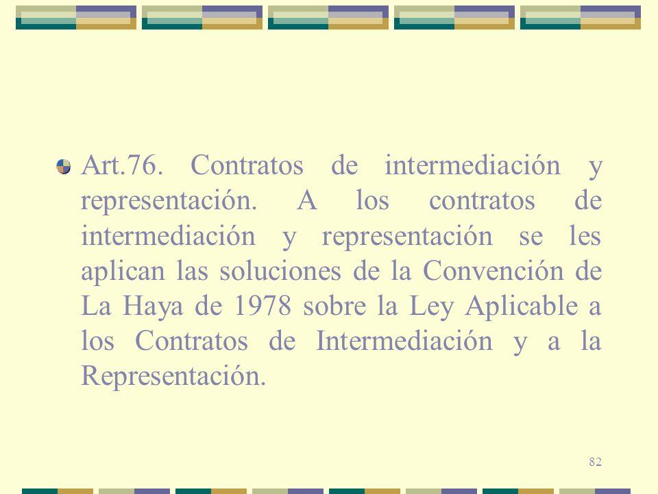 Art. 76. Contratos de intermediación y representación