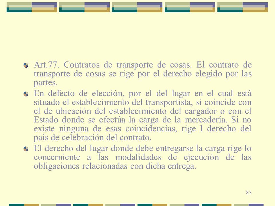 Art. 77. Contratos de transporte de cosas
