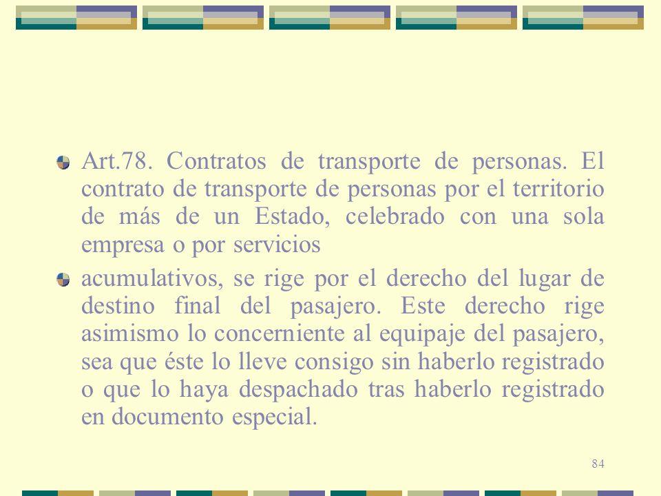Art. 78. Contratos de transporte de personas