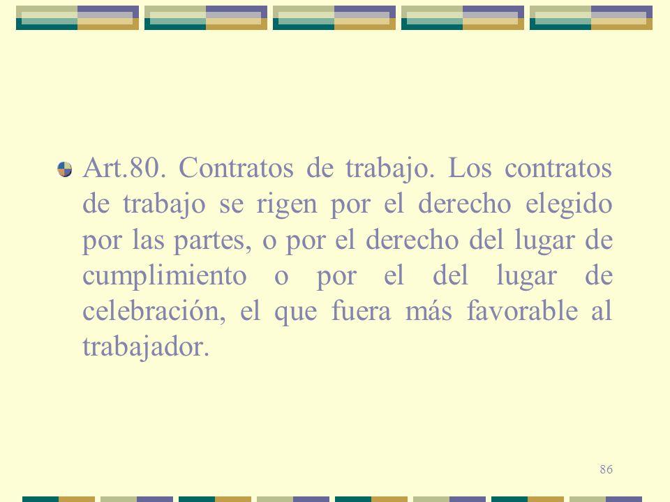 Art. 80. Contratos de trabajo