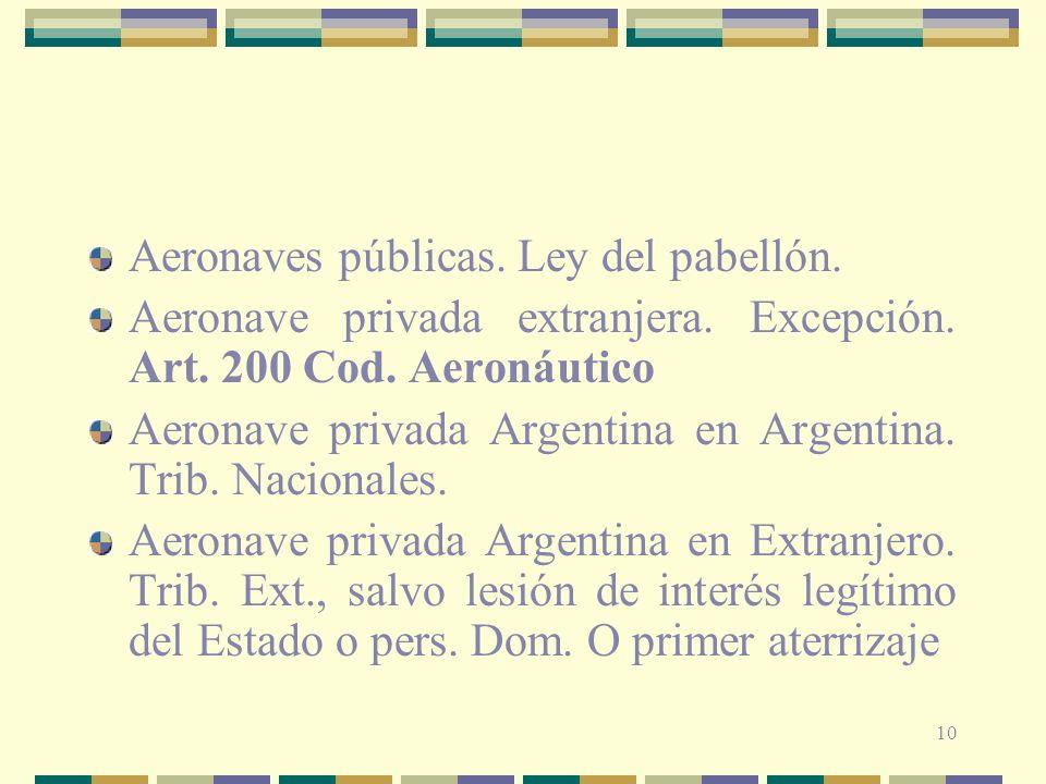 Aeronaves públicas. Ley del pabellón.