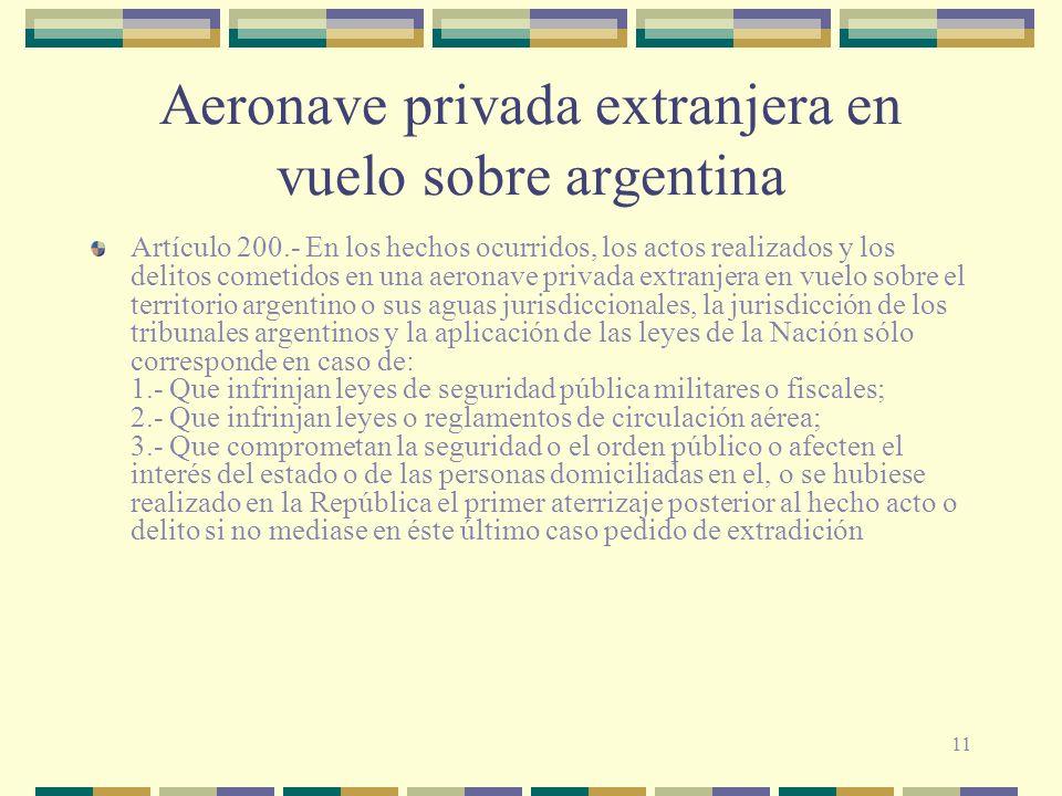 Aeronave privada extranjera en vuelo sobre argentina