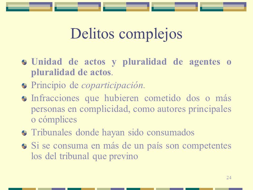 Delitos complejos Unidad de actos y pluralidad de agentes o pluralidad de actos. Principio de coparticipación.
