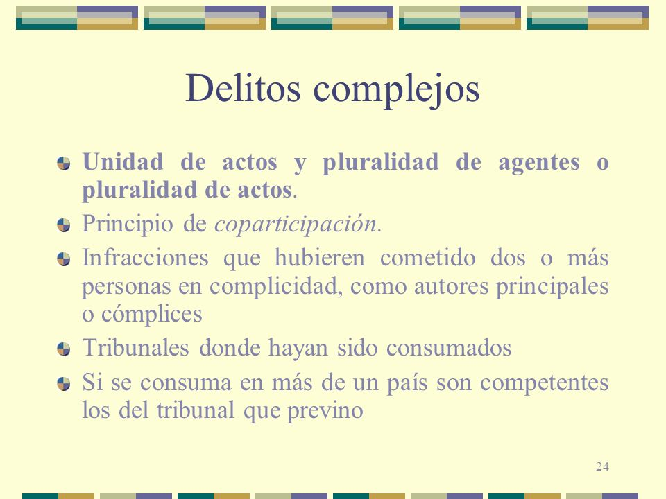 Delitos complejosUnidad de actos y pluralidad de agentes o pluralidad de actos. Principio de coparticipación.