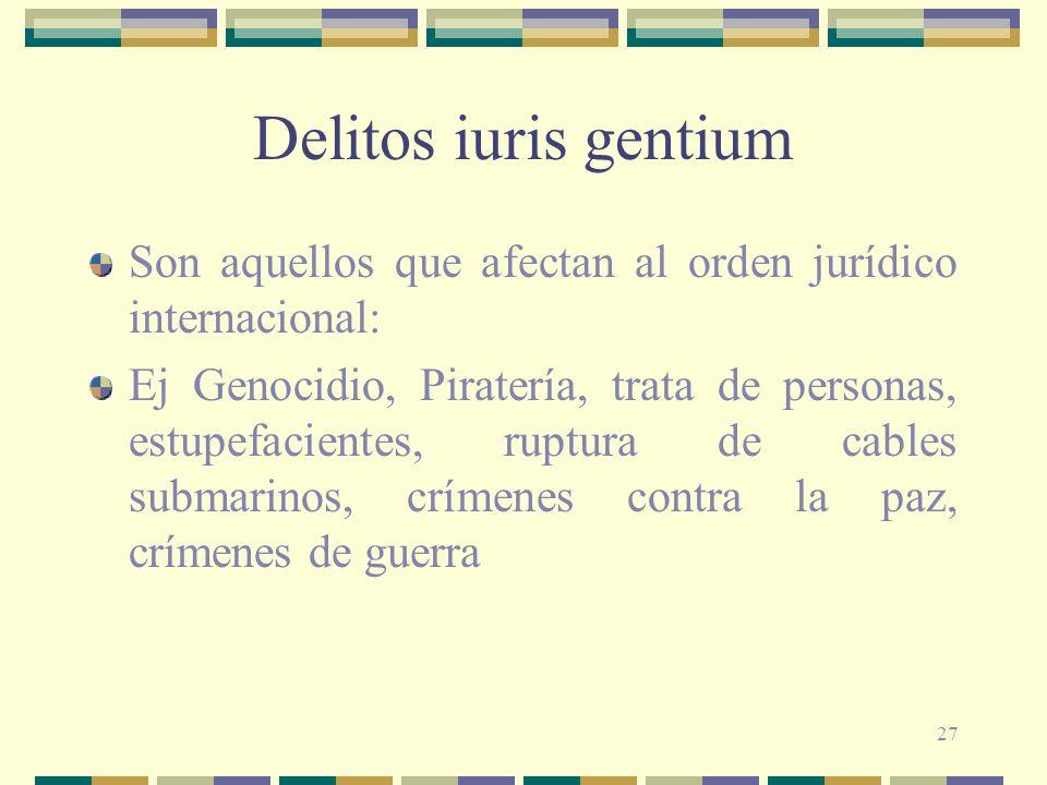 Delitos iuris gentium Son aquellos que afectan al orden jurídico internacional: