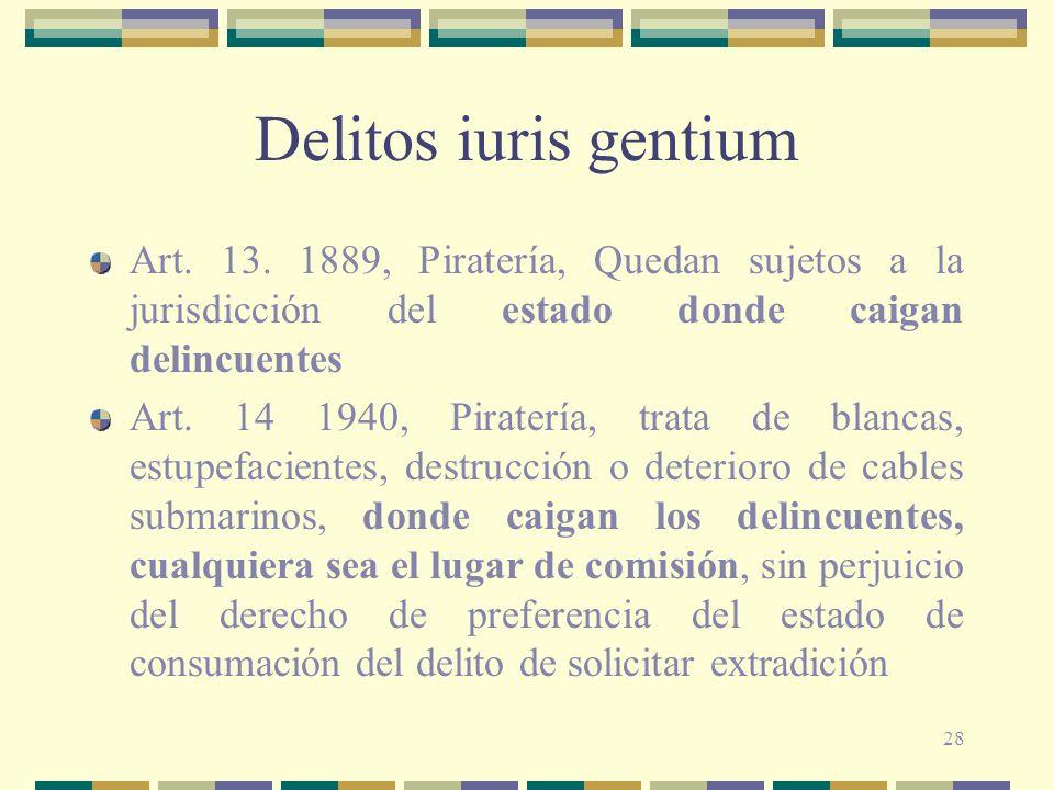 Delitos iuris gentiumArt. 13. 1889, Piratería, Quedan sujetos a la jurisdicción del estado donde caigan delincuentes.