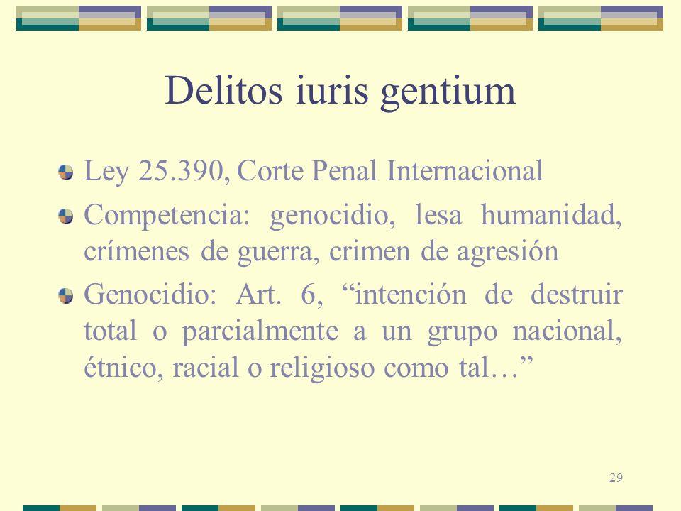 Delitos iuris gentium Ley 25.390, Corte Penal Internacional