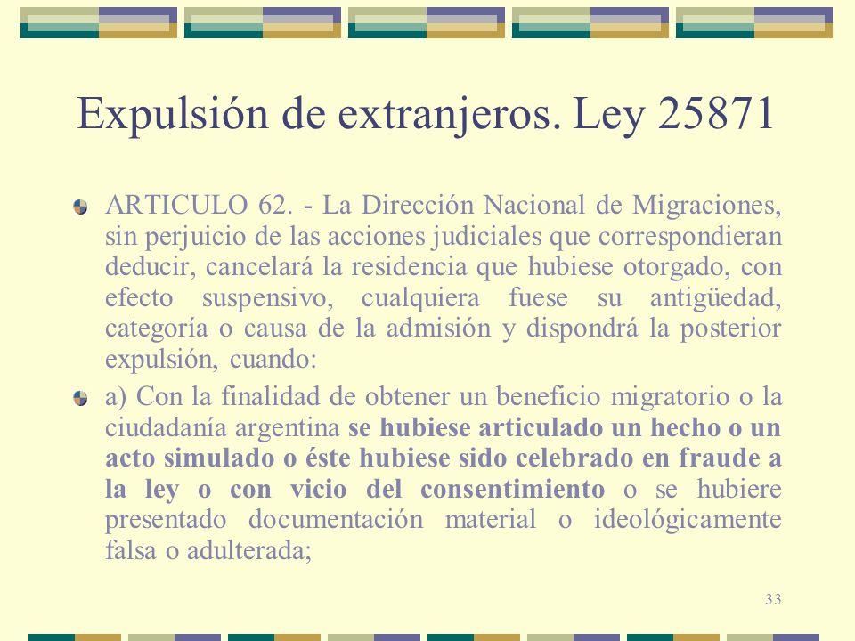 Expulsión de extranjeros. Ley 25871