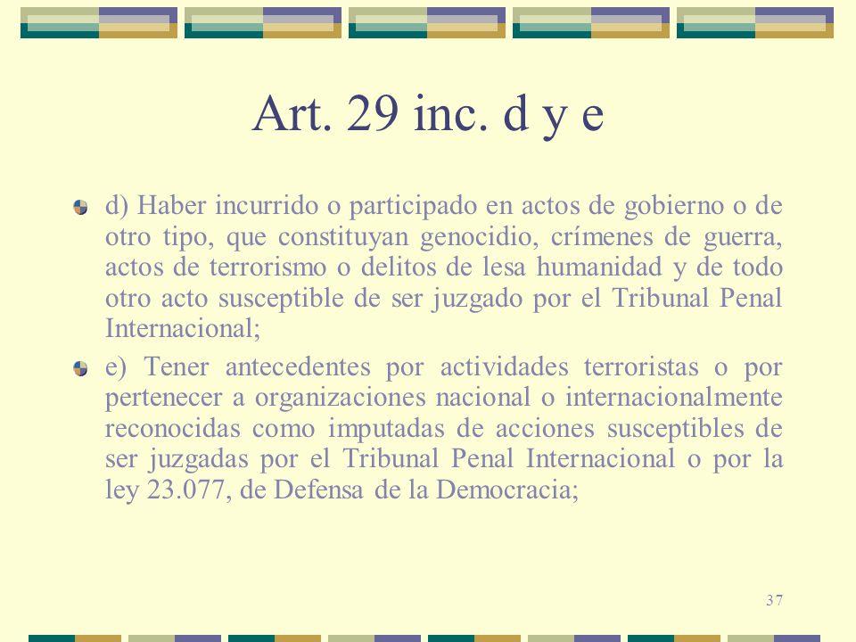 Art. 29 inc. d y e