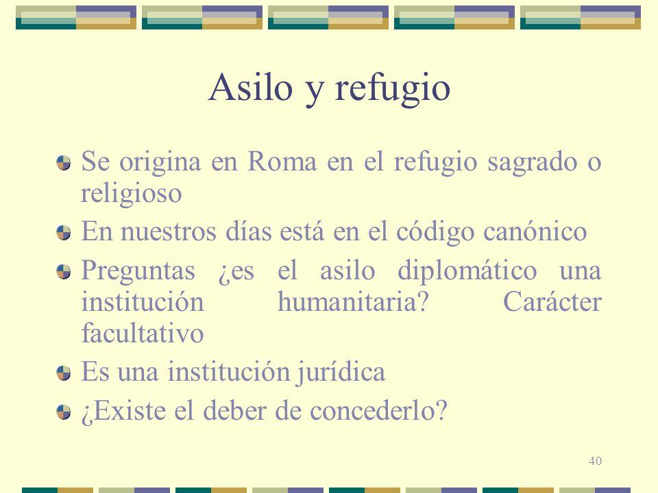 Asilo y refugio Se origina en Roma en el refugio sagrado o religioso