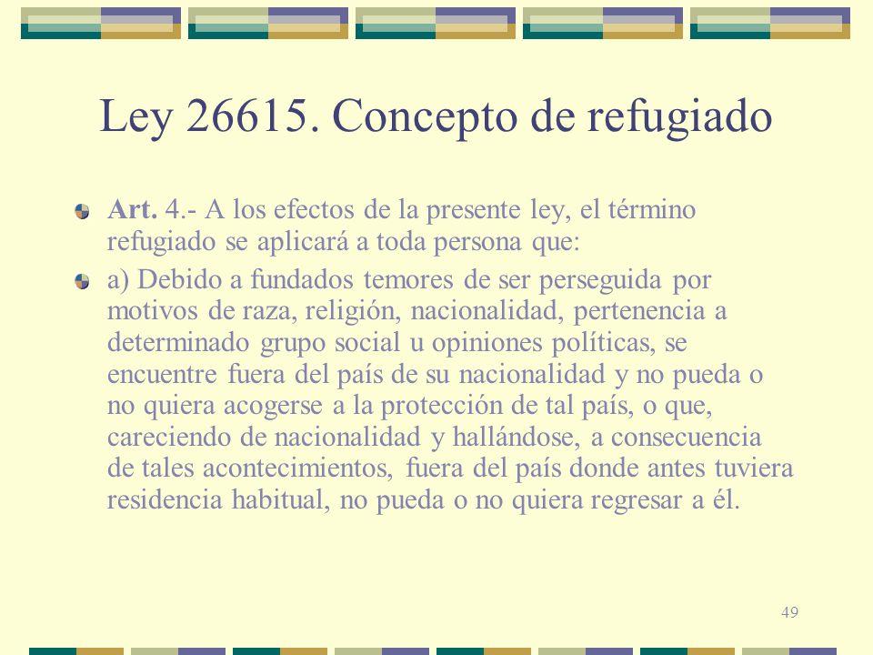 Ley 26615. Concepto de refugiado