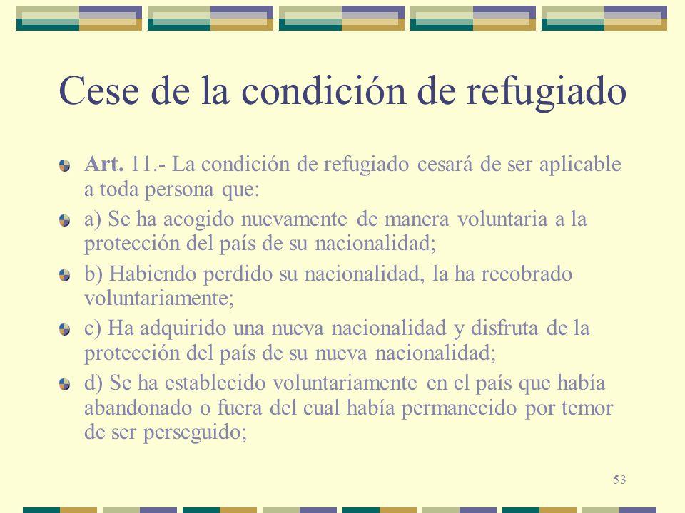 Cese de la condición de refugiado
