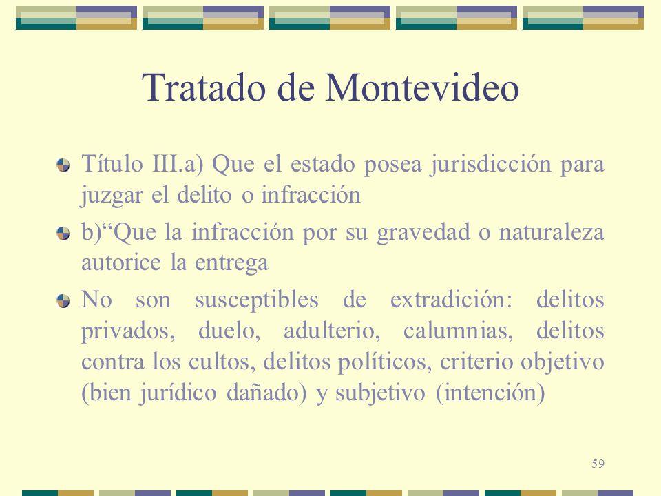 Tratado de Montevideo Título III.a) Que el estado posea jurisdicción para juzgar el delito o infracción.