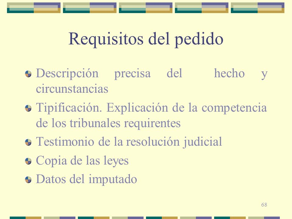 Requisitos del pedido Descripción precisa del hecho y circunstancias