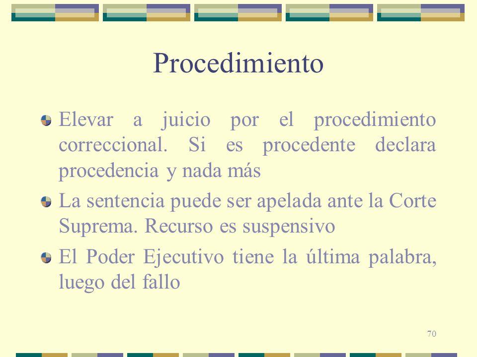 Procedimiento Elevar a juicio por el procedimiento correccional. Si es procedente declara procedencia y nada más.