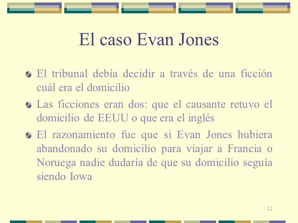 El caso Evan Jones El tribunal debía decidir a través de una ficción cuál era el domicilio.