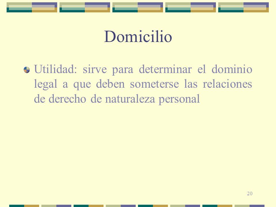 Domicilio Utilidad: sirve para determinar el dominio legal a que deben someterse las relaciones de derecho de naturaleza personal.