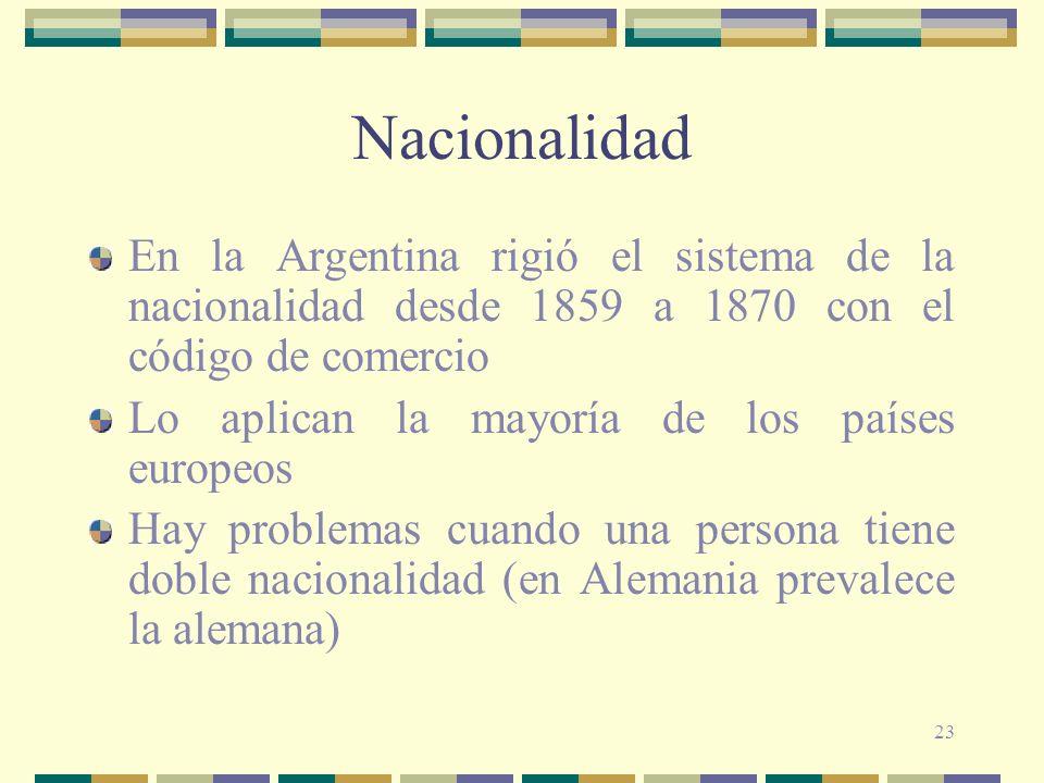 Nacionalidad En la Argentina rigió el sistema de la nacionalidad desde 1859 a 1870 con el código de comercio.