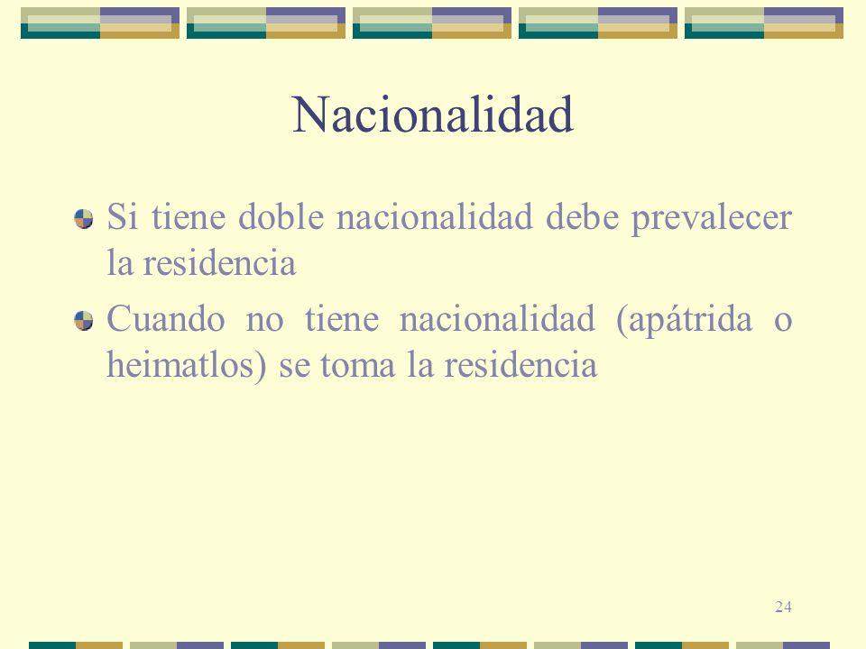 Nacionalidad Si tiene doble nacionalidad debe prevalecer la residencia