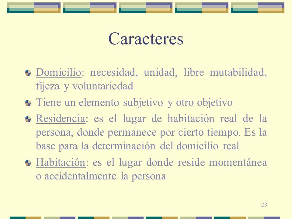 Caracteres Domicilio: necesidad, unidad, libre mutabilidad, fijeza y voluntariedad. Tiene un elemento subjetivo y otro objetivo.