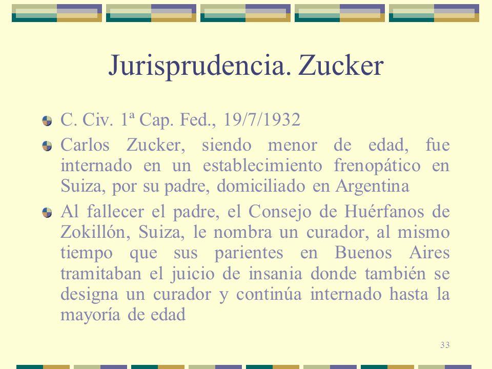 Jurisprudencia. Zucker