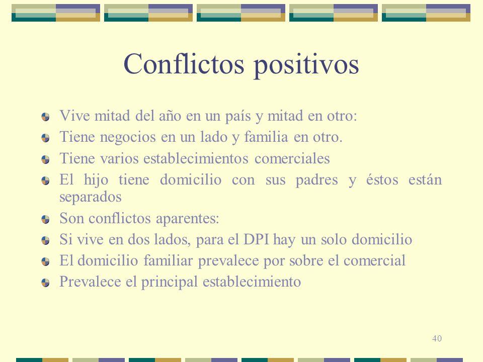 Conflictos positivos Vive mitad del año en un país y mitad en otro: