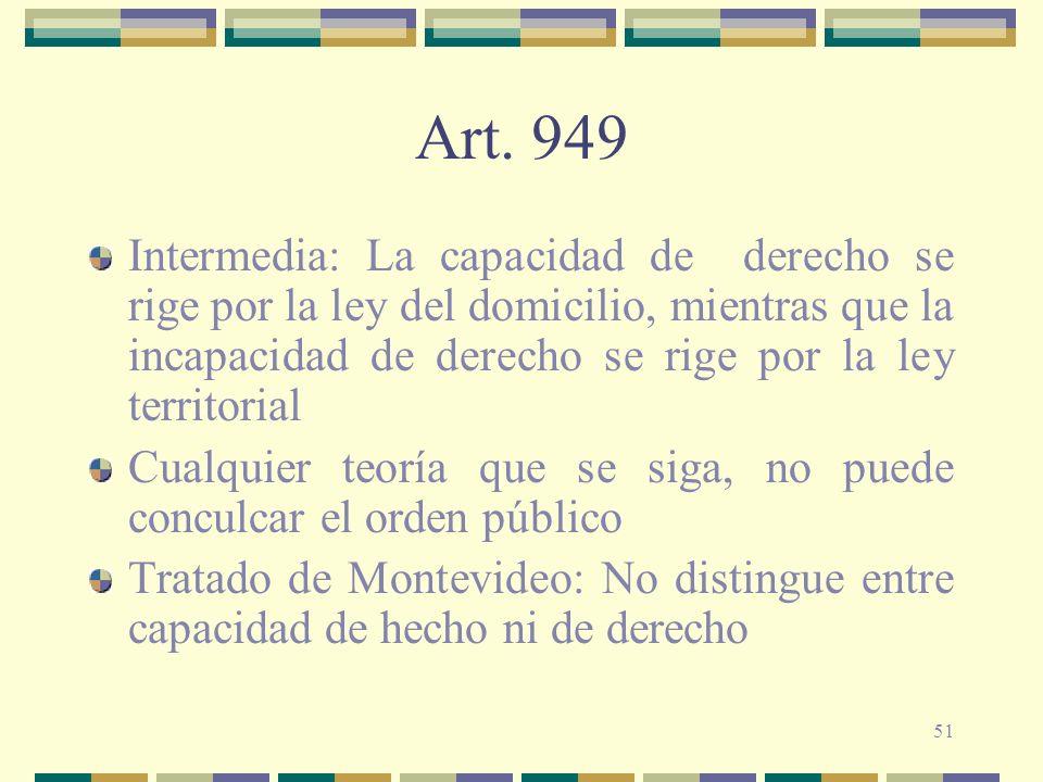 Art. 949 Intermedia: La capacidad de derecho se rige por la ley del domicilio, mientras que la incapacidad de derecho se rige por la ley territorial.