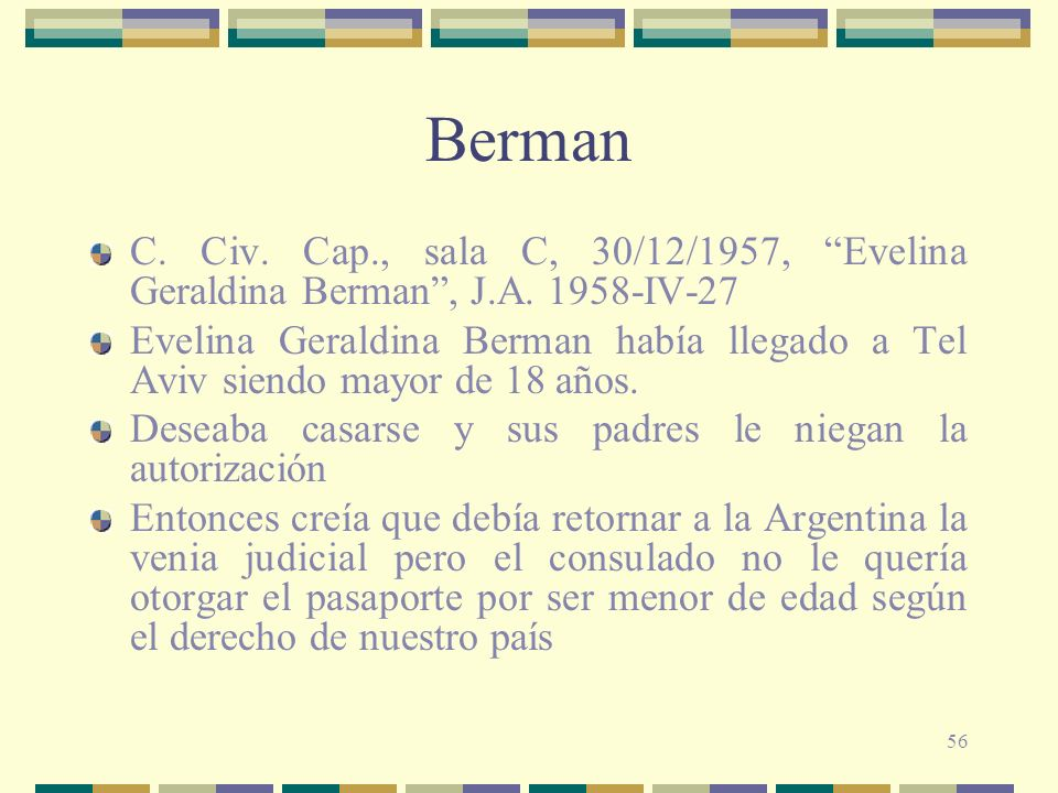 Berman C. Civ. Cap., sala C, 30/12/1957, Evelina Geraldina Berman , J.A. 1958-IV-27.