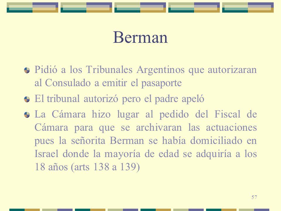 Berman Pidió a los Tribunales Argentinos que autorizaran al Consulado a emitir el pasaporte. El tribunal autorizó pero el padre apeló.