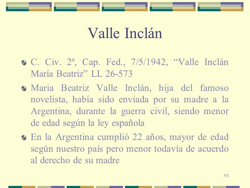 Valle Inclán C. Civ. 2ª, Cap. Fed., 7/5/1942, Valle Inclán María Beatriz LL 26-573.