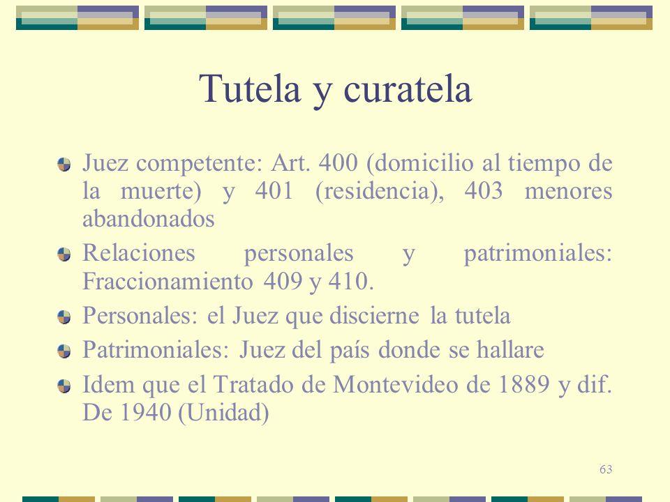 Tutela y curatela Juez competente: Art. 400 (domicilio al tiempo de la muerte) y 401 (residencia), 403 menores abandonados.