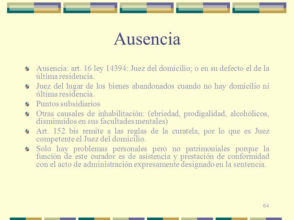Ausencia Ausencia: art. 16 ley 14394: Juez del domicilio; o en su defecto el de la última residencia.