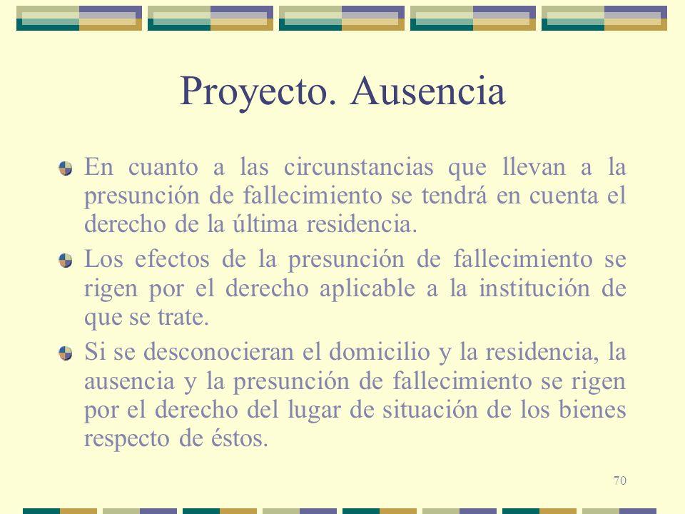 Proyecto. Ausencia En cuanto a las circunstancias que llevan a la presunción de fallecimiento se tendrá en cuenta el derecho de la última residencia.