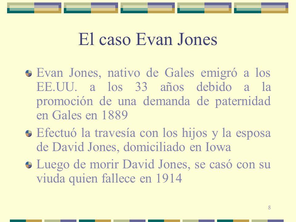El caso Evan Jones Evan Jones, nativo de Gales emigró a los EE.UU. a los 33 años debido a la promoción de una demanda de paternidad en Gales en 1889.