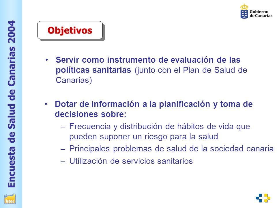 Objetivos Servir como instrumento de evaluación de las políticas sanitarias (junto con el Plan de Salud de Canarias)