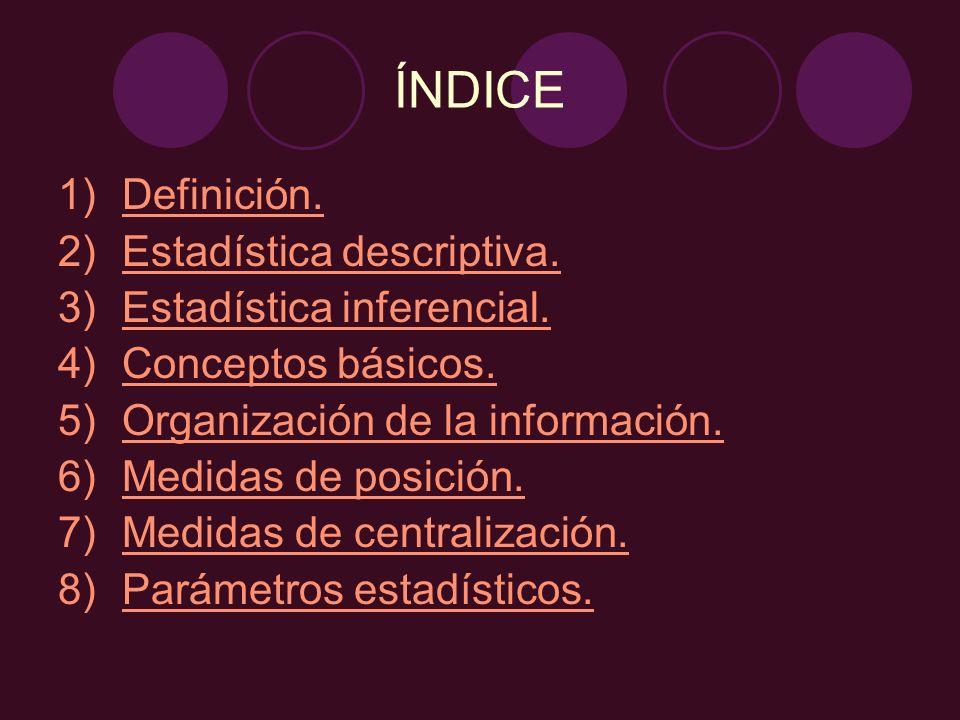 ÍNDICE Definición. Estadística descriptiva. Estadística inferencial.