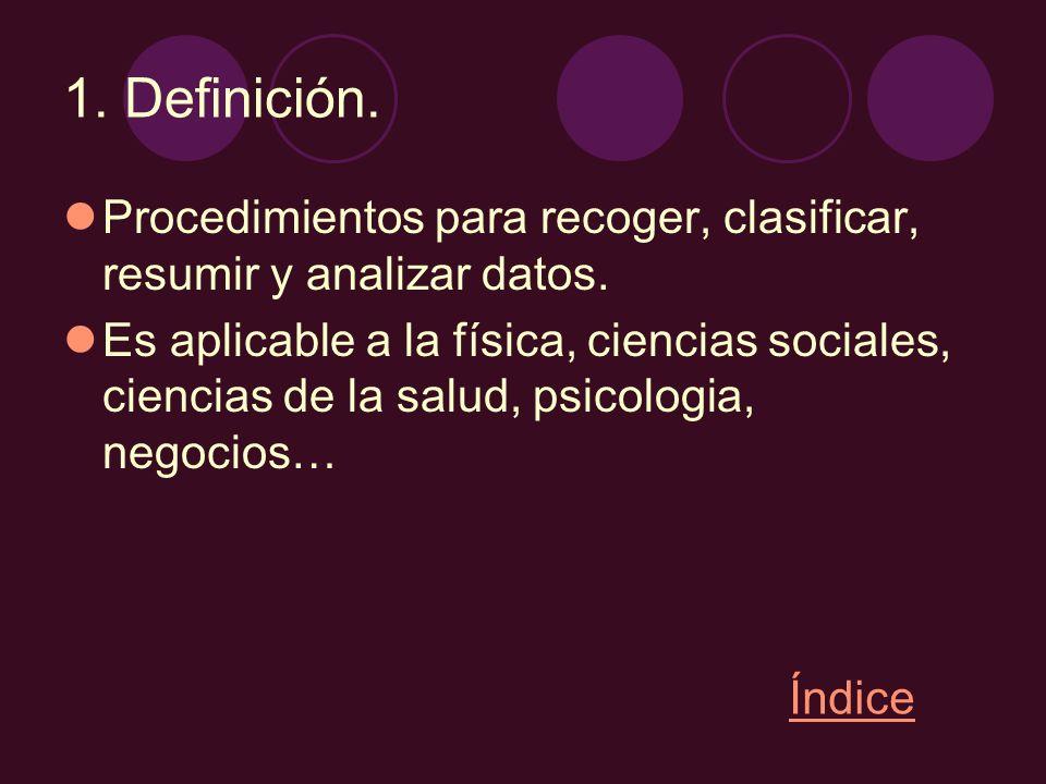 1. Definición. Procedimientos para recoger, clasificar, resumir y analizar datos.