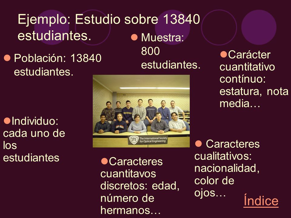 Ejemplo: Estudio sobre 13840 estudiantes.