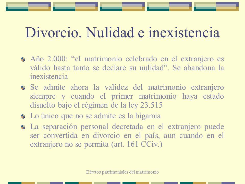 Divorcio. Nulidad e inexistencia