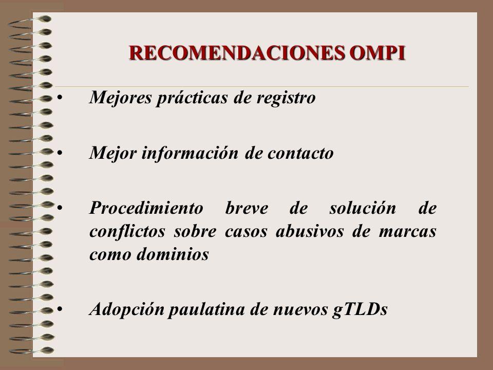 RECOMENDACIONES OMPI Mejores prácticas de registro
