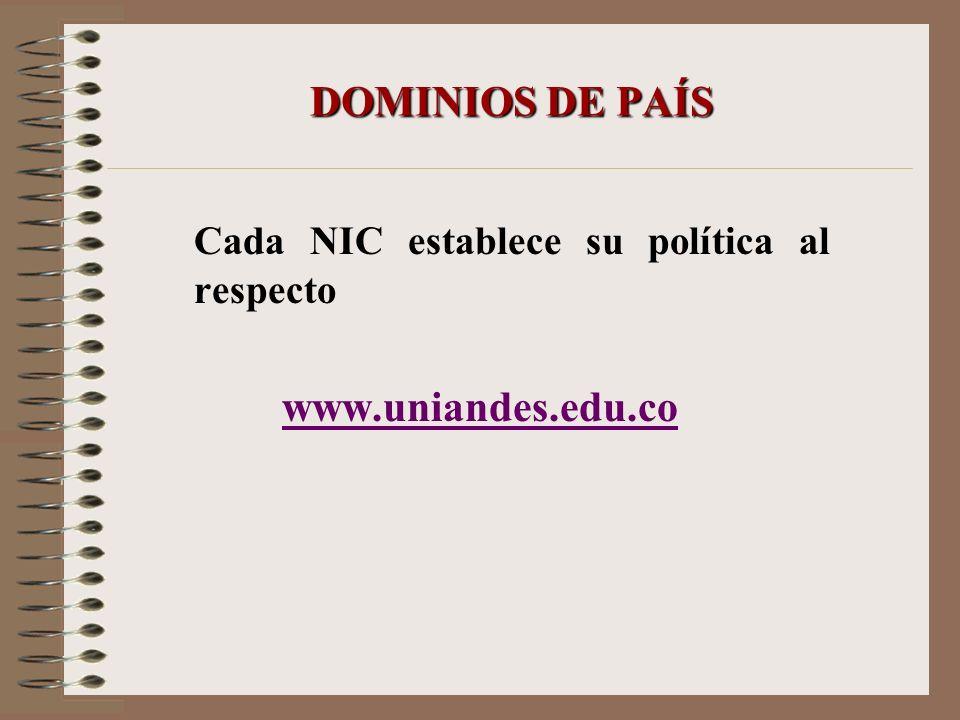 DOMINIOS DE PAÍS Cada NIC establece su política al respecto www.uniandes.edu.co