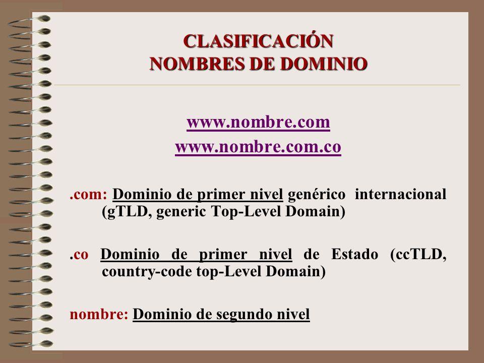 CLASIFICACIÓN NOMBRES DE DOMINIO