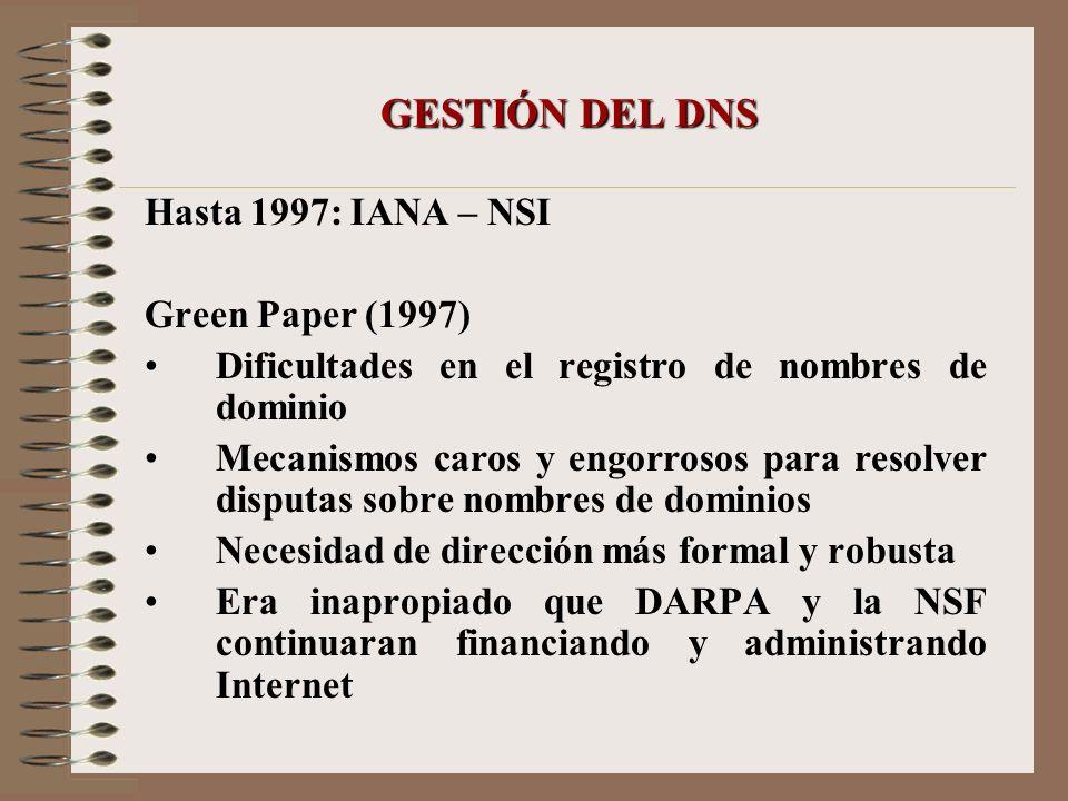 GESTIÓN DEL DNS Hasta 1997: IANA – NSI Green Paper (1997)